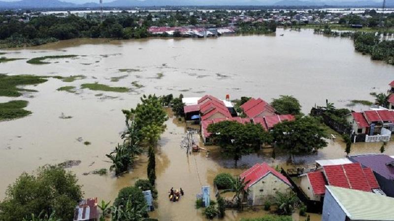 Potret banjir di Kabupaten Bima. (CNN Indonesia)
