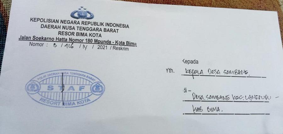 Surat panggilan penyidik Polres Bima Kota terhadap Kepala Desa Sambane, Kecamatan Langgudu, Kabupaten Bima. (Istimewa)
